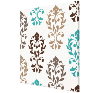 Heart Damask Art I Browns Teal Cream Canvas Print