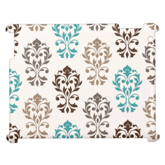 Heart Damask Art I Browns Teal Cream Case For The iPad