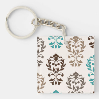 Heart Damask Art I Browns Teal Cream Double-Sided Square Acrylic Keychain