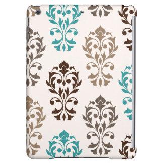Heart Damask Art I Browns Teal Cream iPad Air Cases