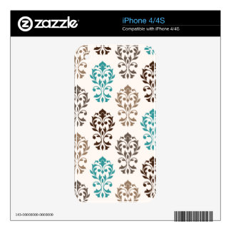 Heart Damask Art I Browns Teal Cream iPhone 4 Decals