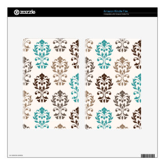Heart Damask Art I Browns Teal Cream Kindle Fire Decal