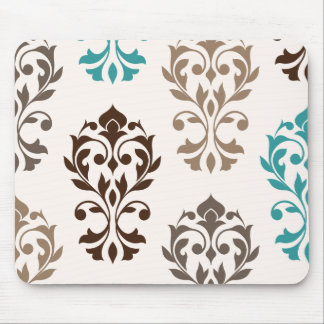 Heart Damask Art I Browns Teal Cream Mouse Pad