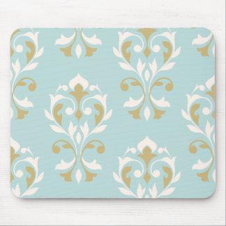 Heart Damask Art I Cream & Gold on Blue Mouse Pad