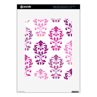 Heart Damask Art I Pinks Plums White Decals For iPad 3
