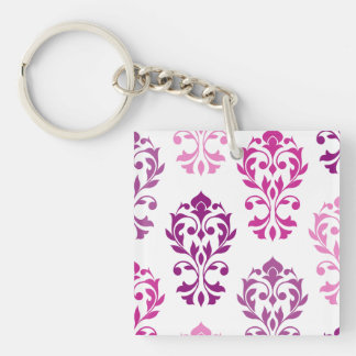 Heart Damask Art I Pinks Plums White Keychain
