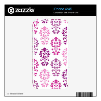 Heart Damask Art I Pinks Plums White Skins For iPhone 4
