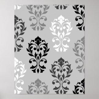Heart Damask Art Ib Black Greys White Poster