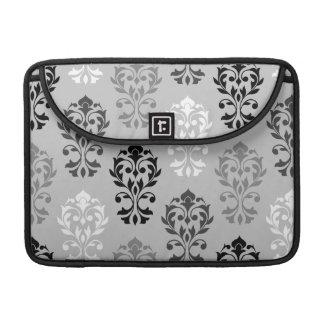 Heart Damask Art Ib Black Greys White Sleeve For MacBooks