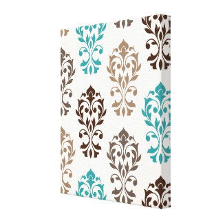 Heart Damask Art Ib Browns Teal Cream Canvas Print