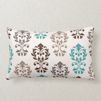 Heart Damask Art Ib Browns Teal Cream Lumbar Pillow
