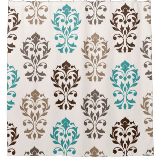 Heart Damask Art Ib Browns Teal Cream Shower Curtain