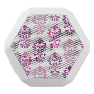 Heart Damask Art Ib Pinks Plums White White Bluetooth Speaker