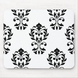 Heart Damask Big Ptn Black on White Mouse Pad