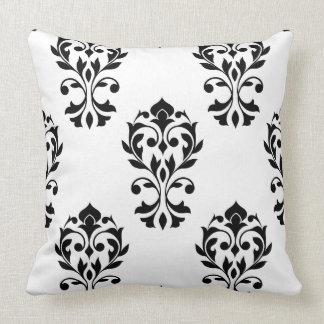 Heart Damask Big Ptn Black on White Pillow
