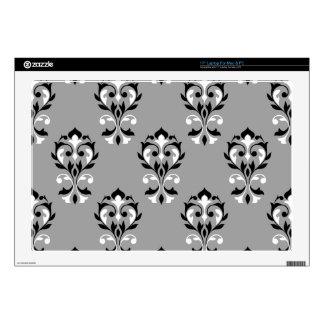 "Heart Damask Big Ptn Black & White on Grey Decal For 17"" Laptop"