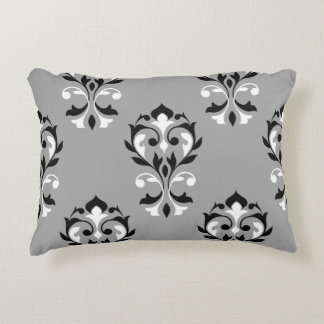 Heart Damask Big Ptn Black & White on Grey Decorative Pillow