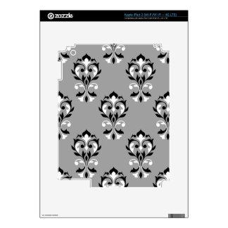 Heart Damask Big Ptn Black & White on Grey iPad 3 Skins