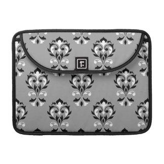 Heart Damask Big Ptn Black & White on Grey MacBook Pro Sleeve