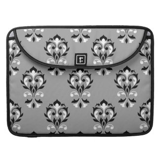 Heart Damask Big Ptn Black & White on Grey MacBook Pro Sleeves