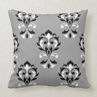 Heart Damask Big Ptn Black & White on Grey Pillow