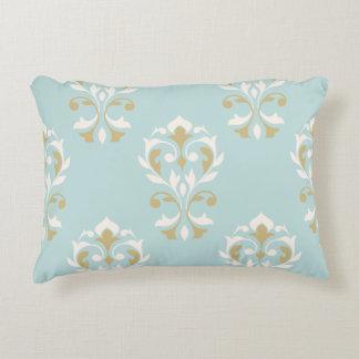 Heart Damask Big Ptn Cream & Gold on Blue Accent Pillow