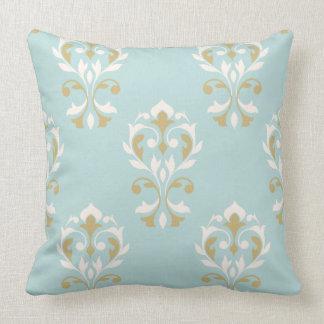 Heart Damask Big Ptn Cream & Gold on Blue Pillow