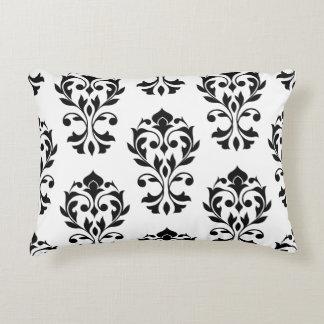 Heart Damask Big Ptn II Black on White Decorative Pillow