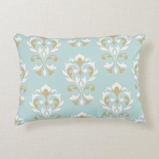 Heart Damask Big Ptn II Cream & Gold on Blue Decorative Pillow