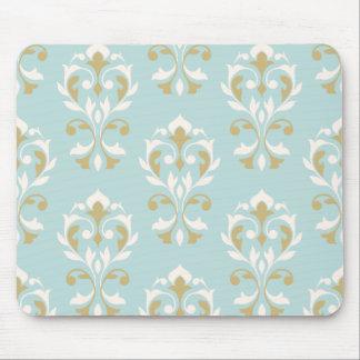Heart Damask Big Ptn II Cream & Gold on Blue Mouse Pad