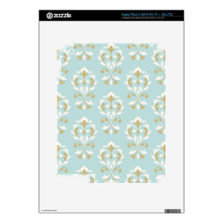 Heart Damask Big Ptn II Cream & Gold on Blue Skin For iPad 3