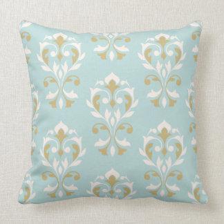 Heart Damask Big Ptn II Cream & Gold on Blue Throw Pillow