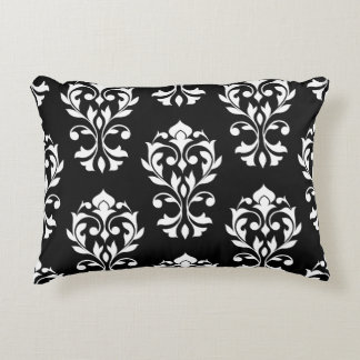 Heart Damask Big Ptn II White on Black Decorative Pillow
