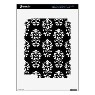 Heart Damask Big Ptn II White on Black iPad 3 Decal