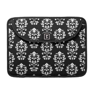 Heart Damask Big Ptn II White on Black Sleeve For MacBooks