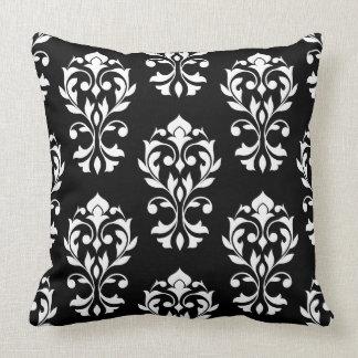 Heart Damask Big Ptn II White on Black Throw Pillow