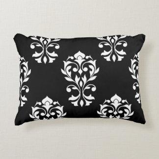 Heart Damask Big Ptn White on Black Decorative Pillow
