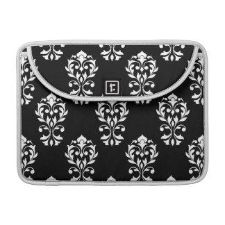 Heart Damask Big Ptn White on Black MacBook Pro Sleeves