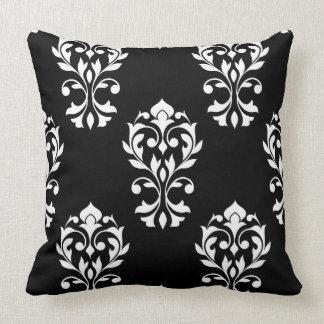 Heart Damask Big Ptn White on Black Pillow