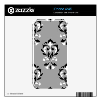 Heart Damask Lg Ptn Black & White on Grey Decal For The iPhone 4S