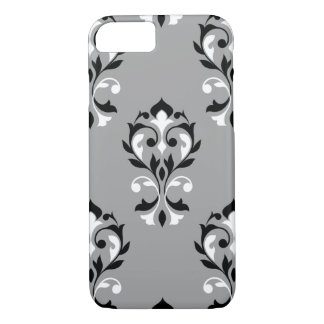 Heart Damask Lg Ptn Black & White on Grey iPhone 8/7 Case