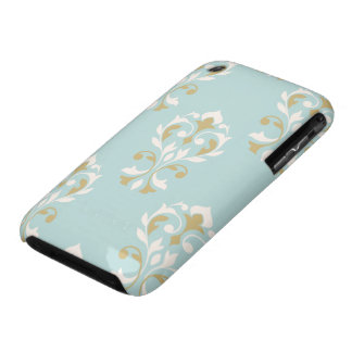 Heart Damask Lg Ptn Cream & Gold on Blue iPhone 3 Case-Mate Case