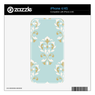 Heart Damask Lg Ptn Cream & Gold on Blue iPhone 4 Decal
