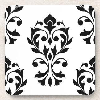 Heart Damask Lg Ptn II Black on White Beverage Coaster