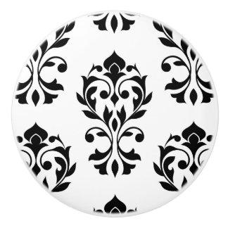 Heart Damask Lg Ptn II Black on White Ceramic Knob