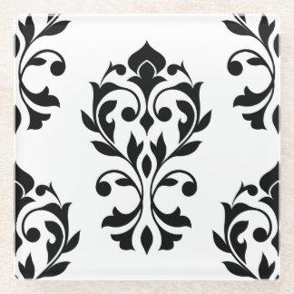 Heart Damask Lg Ptn II Black on White Glass Coaster