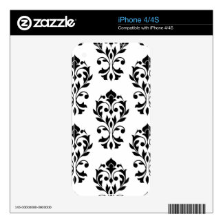 Heart Damask Lg Ptn II Black on White iPhone 4S Decals