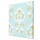 Heart Damask Lg Ptn II Cream & Gold on Blue Canvas Print