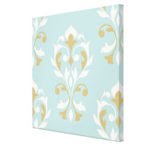 Heart Damask Lg Ptn II Cream & Gold on Blue Canvas Print
