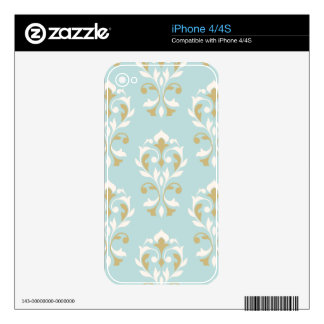 Heart Damask Lg Ptn II Cream & Gold on Blue Decals For iPhone 4S